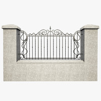 wrought iron fence metal 3d model