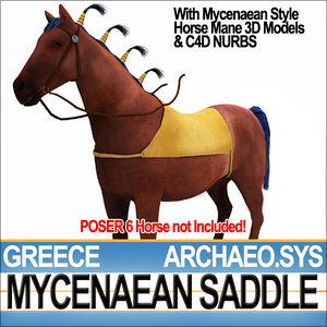 3d ancient greece mycenaean horse saddle