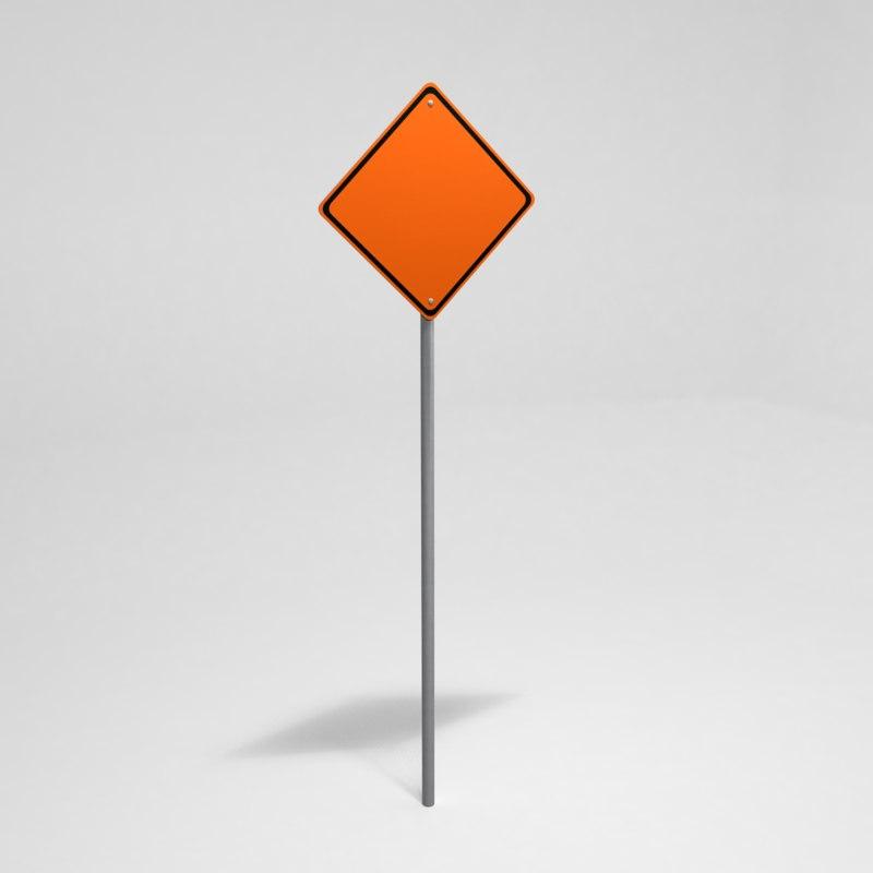 street sign construction 3d model