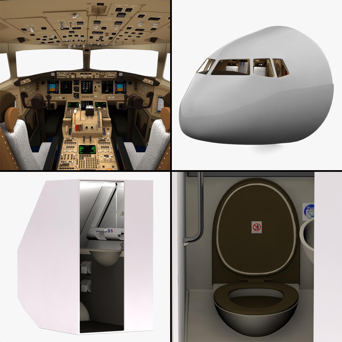 3d model boeing cockpit restroom