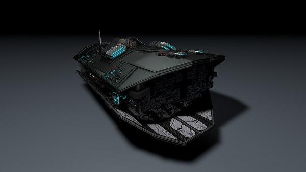 3d spacecraft plasma cannons model