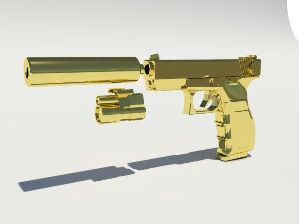 3ds max glock 17 pistol