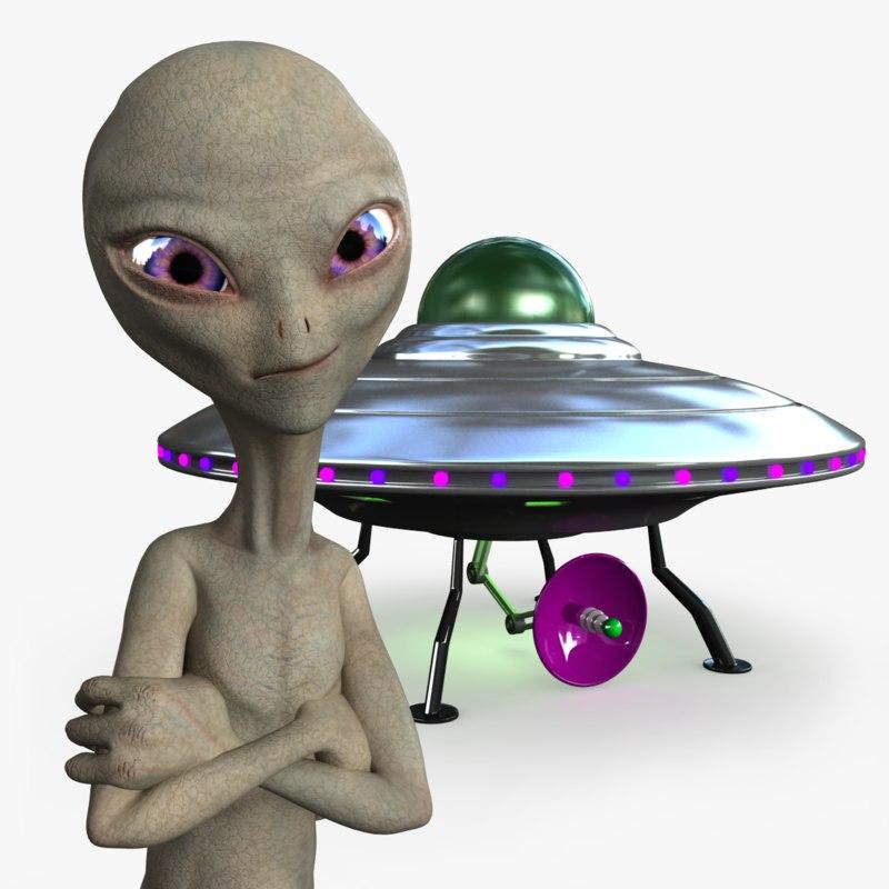 3d model of - grey alien rigged