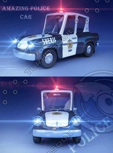 police car toon 3d max