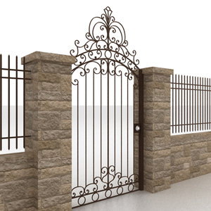 3d 3ds metal gate fence 2