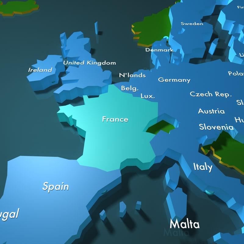 European Union 3d map