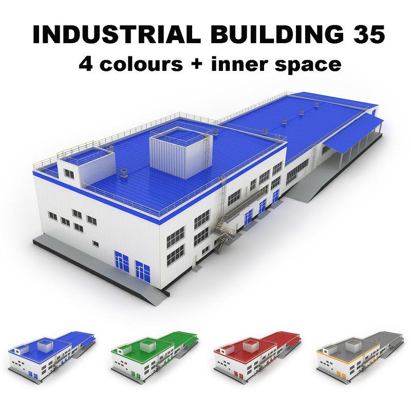 3d model large industrial building 35