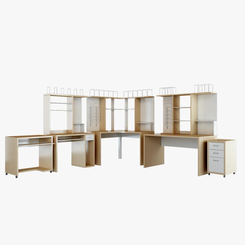 mikael office furniture set 3d model