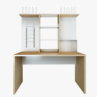 3d mikael office straight table furniture model