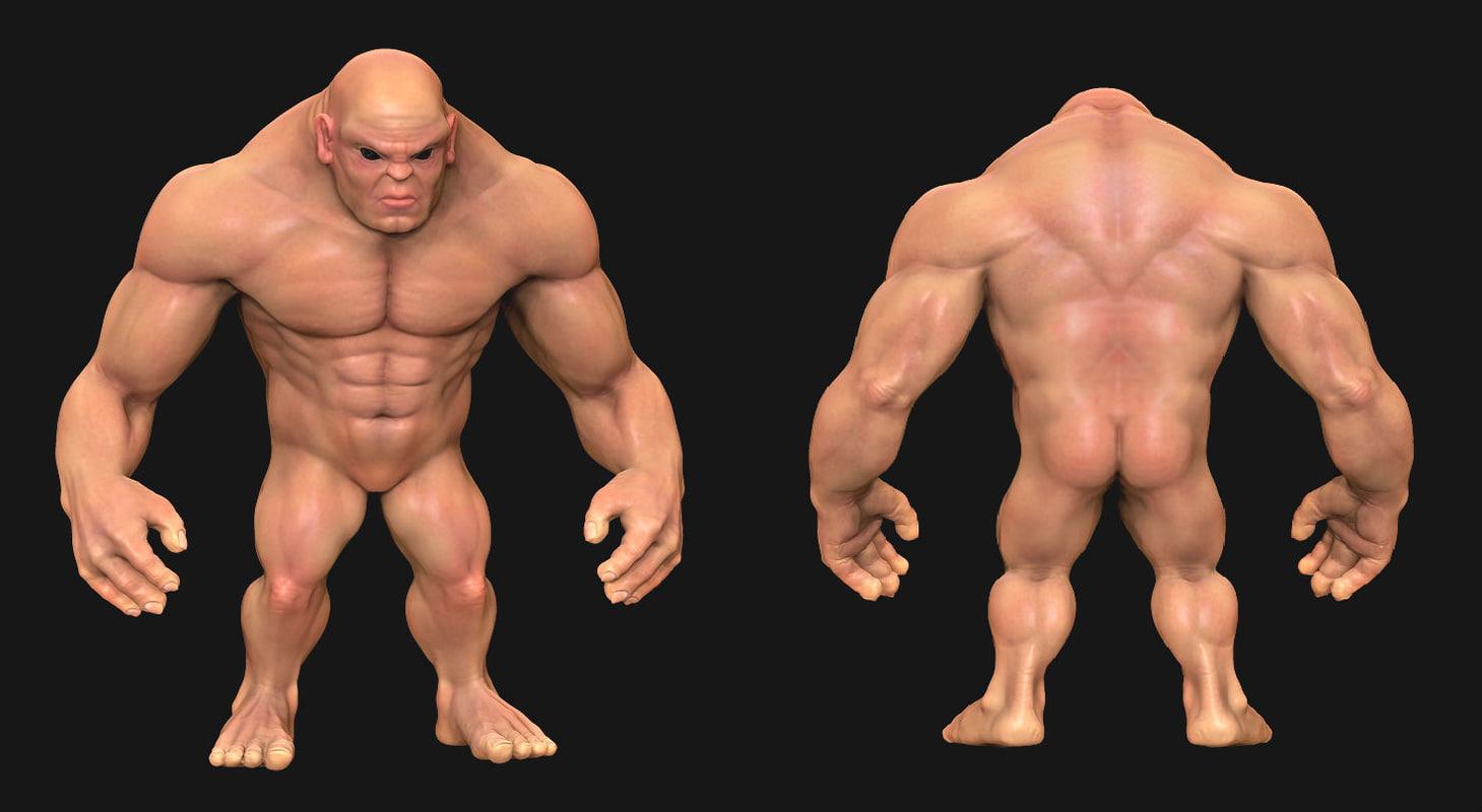 3d model muscle man cartoon