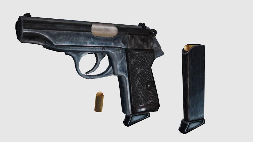 3d model of pistol