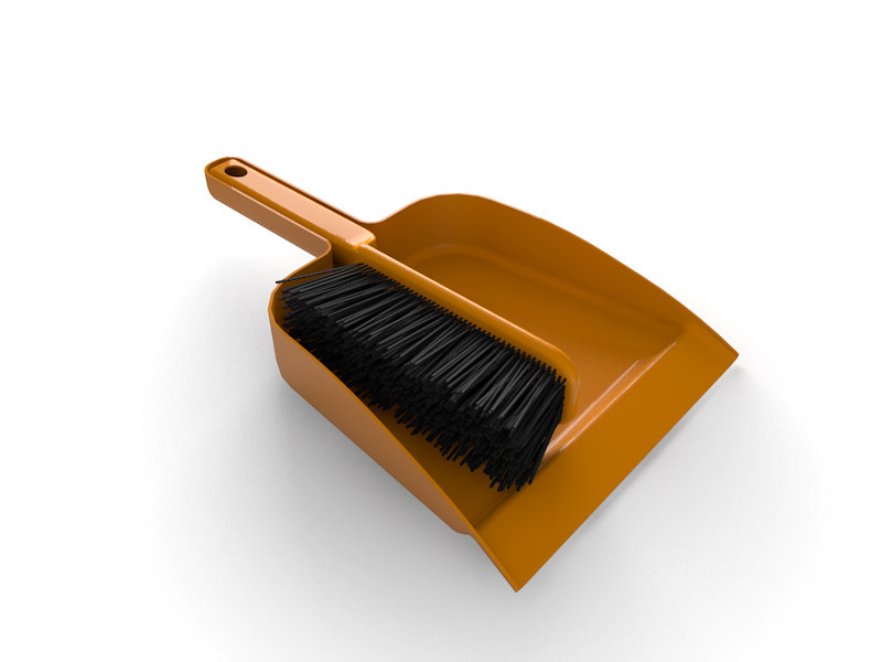 3d dustpan broom