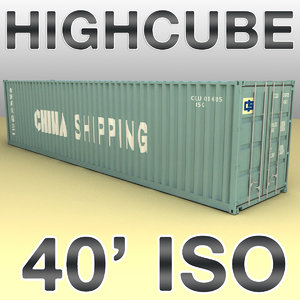 40 feet container cargo ships 3d model