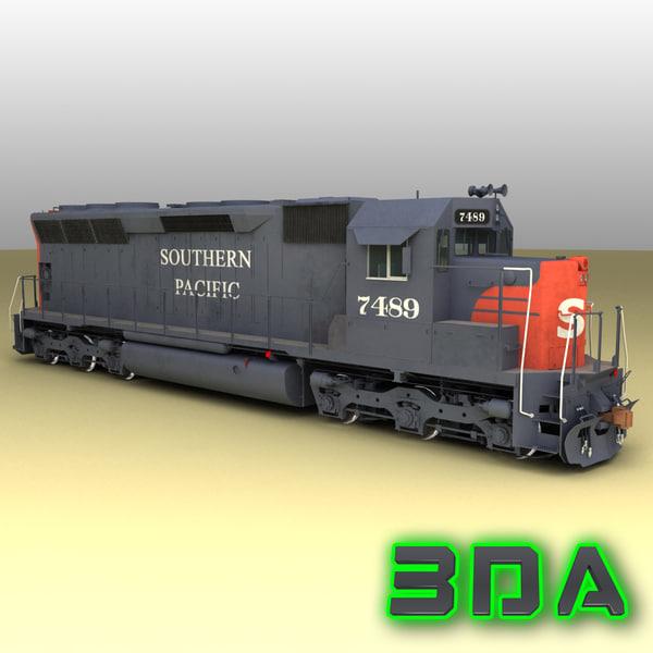 emd sd45 sp locomotive 3d model