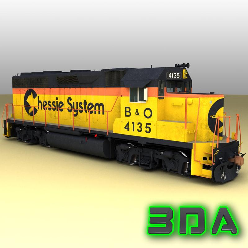 emd gp40 railroad engines 3d max
