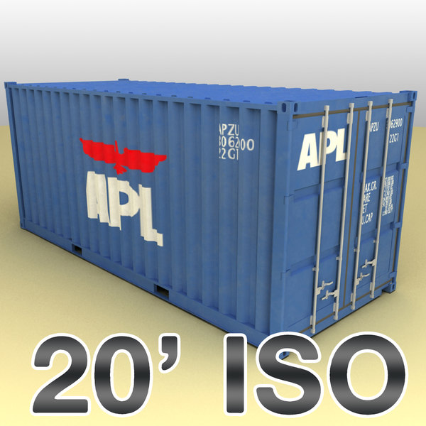 20 feet container ships 3d model