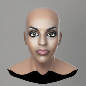 realistic female head 3d max