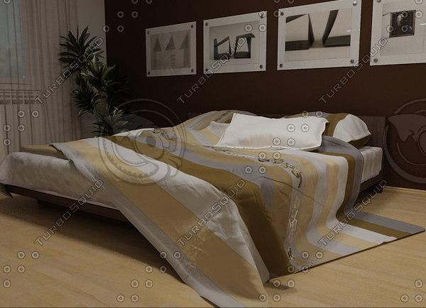 3d bed pillow mattress model