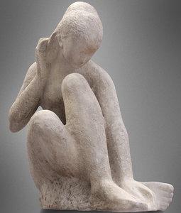 3d sitting girl statue resolution model