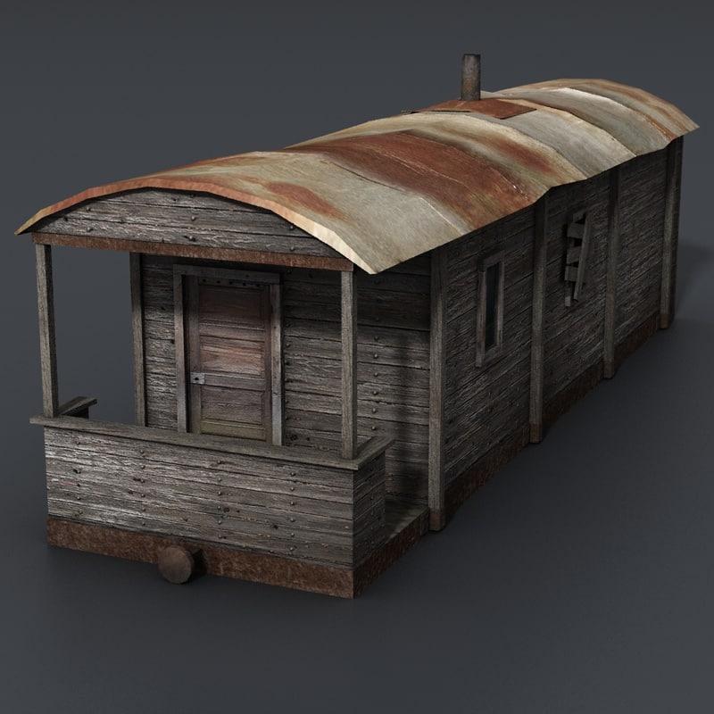 ready train wagon house 3d model