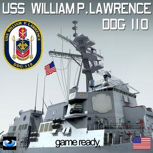 uss william p lawrence 3d model