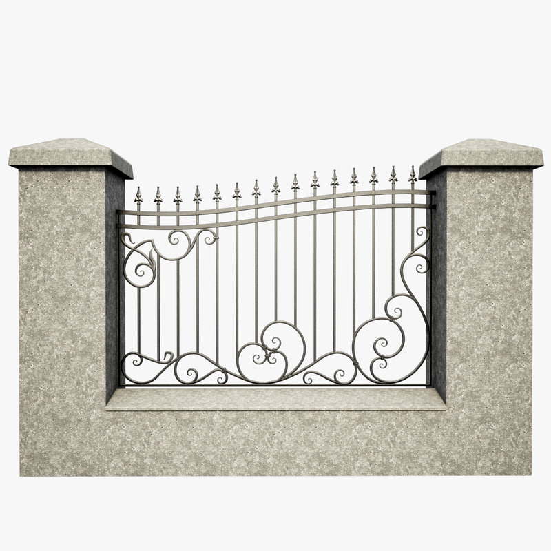 3d wrought iron fence metal model for 3d fence