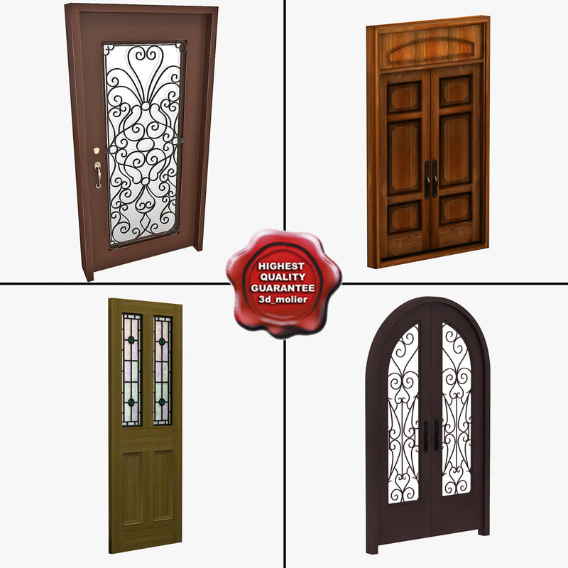 doors wooden open 3d model