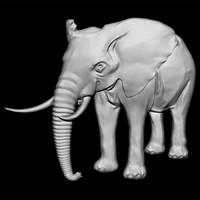 maya elephant bas-relief cnc