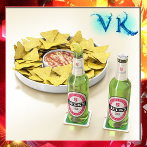 3d model nacho bowl becks beer bottles
