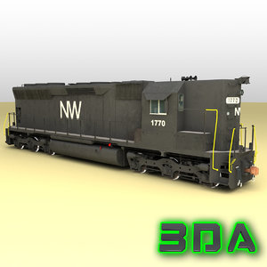 emd sd45 nw locomotive 3d max