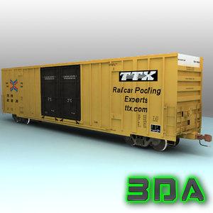3d model a606 boxcar rails cargo