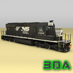 emd sd40-2 engines ns 3d max