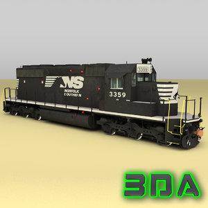 emd sd40-2 engines ns 3d max