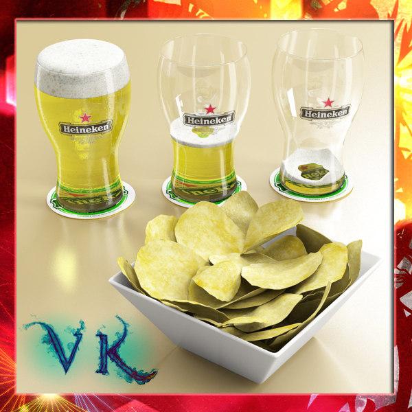 3d model chips bowl pint beer