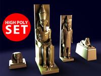 3d temple statues model