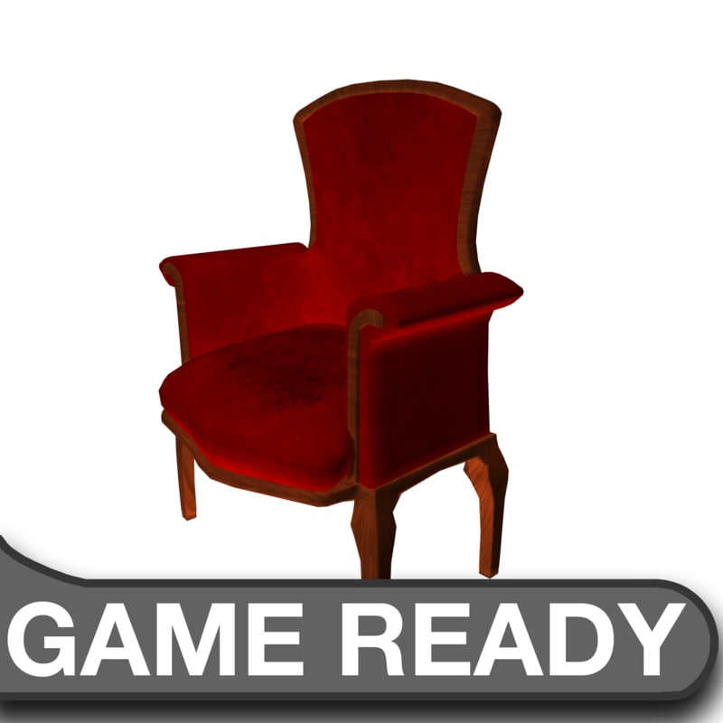 3d model of victorian chair red