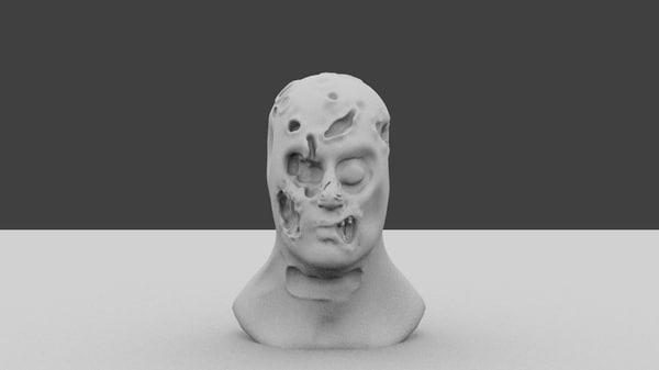 free zombie head 3d model