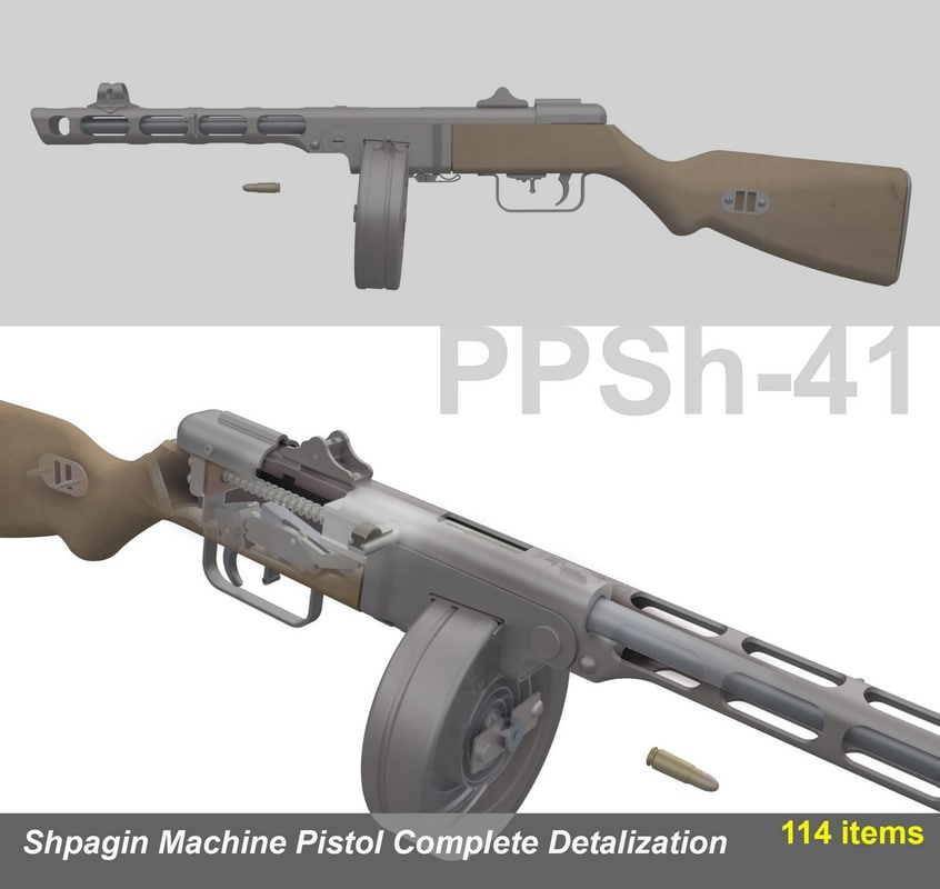 3d model shpagin ppsh-41 complete