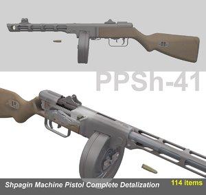 3d model shpagin ppsh-41 complete