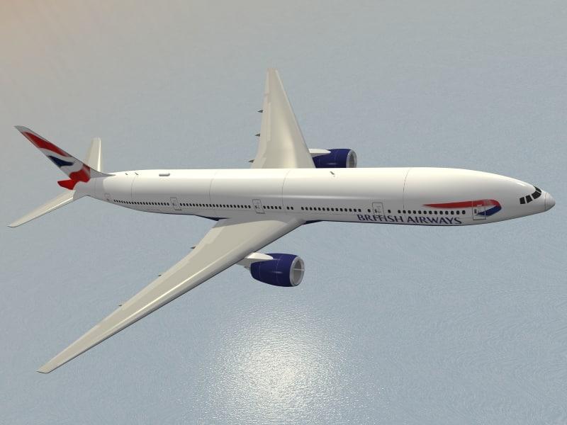 3d boeing 777-300 er british airways