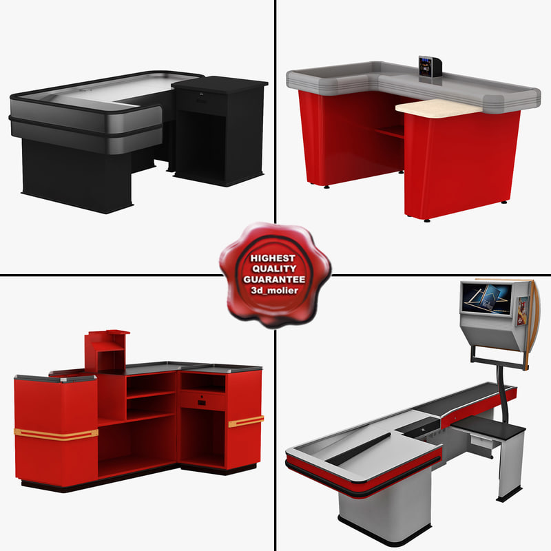 cash counters 1 3d model