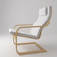3d model ikea poang armchair chair