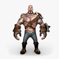 muscular warrior 3d model