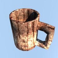 3d obj wood cup