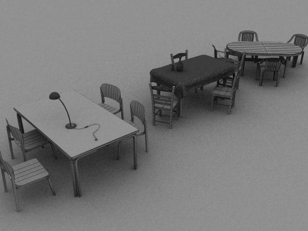 3d model 3 tables