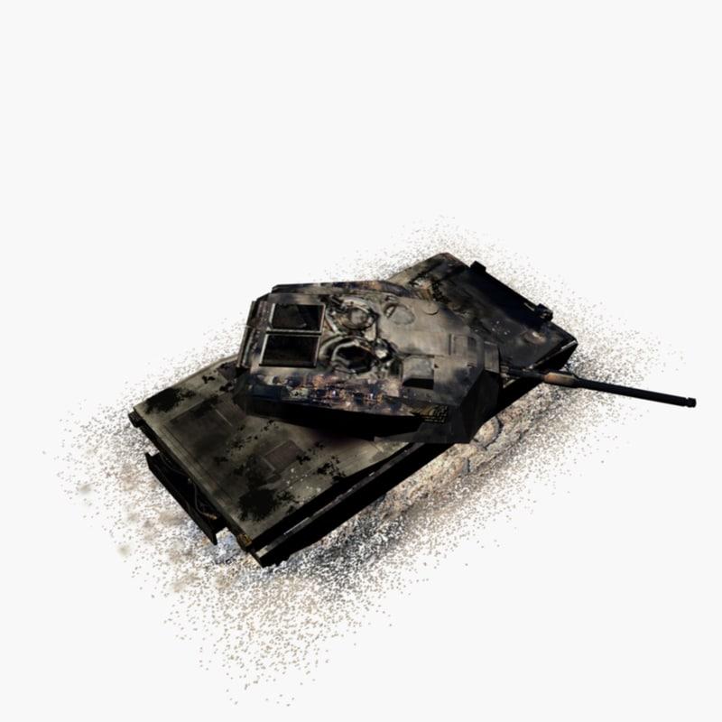 3d model burned m1 abrams tank