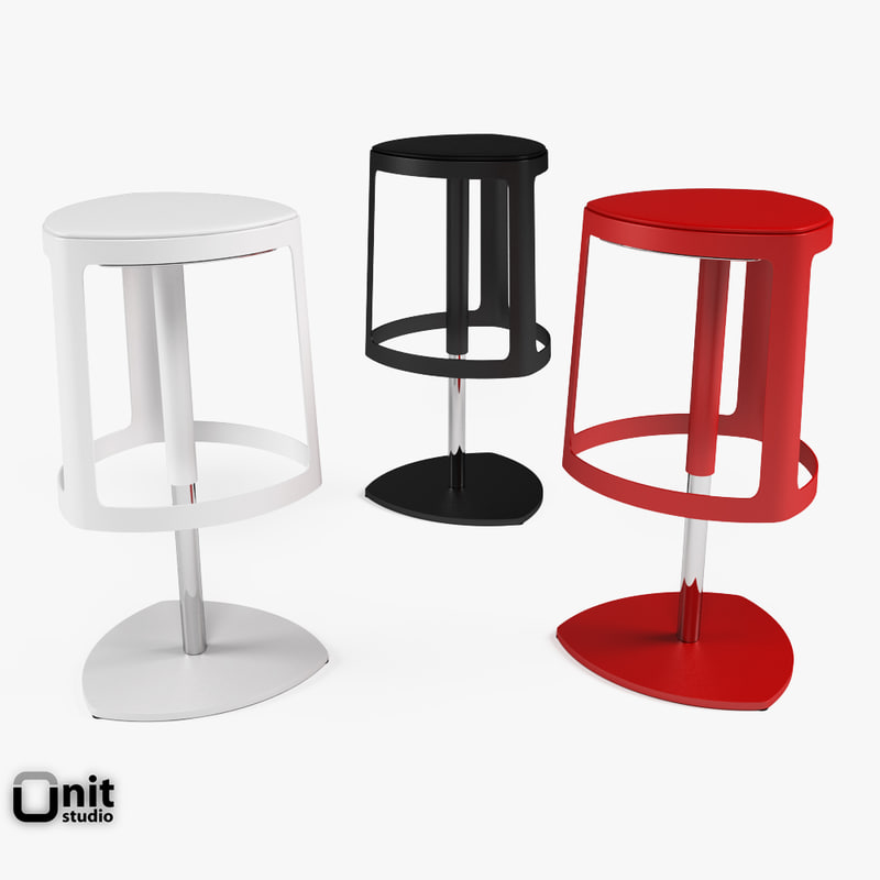 3d stool designed painted model