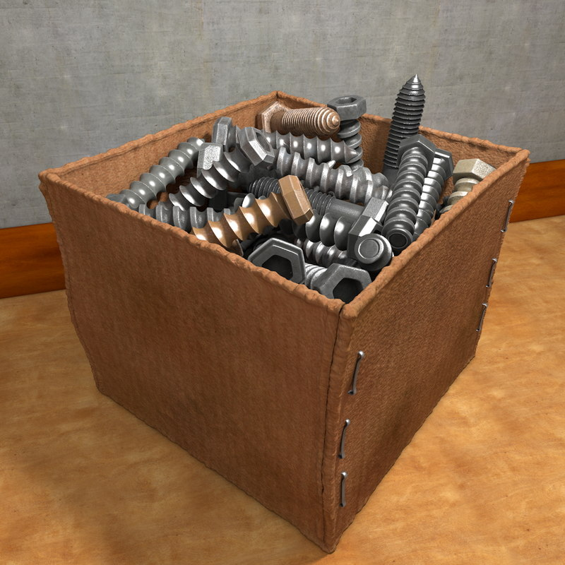 c4d cardbox screws nails