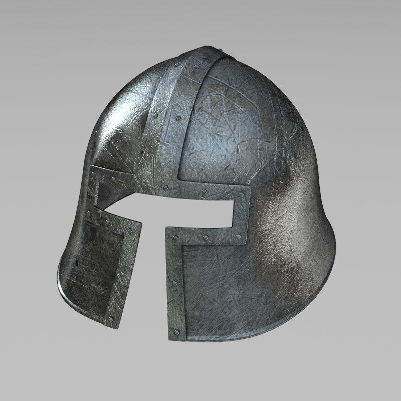 barbuta war helmet 3d model
