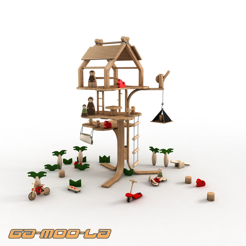 children wooden treehouse 3d max